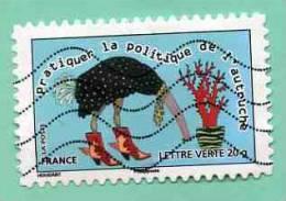 FRANCE 2013 - Y&T N° A 7.. : PROVERBE + PRATIQUER LA POLITIQUE DE L´AUTRUCHE + BLEU - Used Stamps