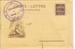 """Carte-lettre De L'sspérance Lion De Belfort Simili-semeuse Cachet FM""""service Des C.E.C./ /le Major De Cantonnement"""" - Marcophilie (Lettres)"""