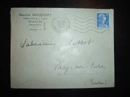 LETTRE TP MARIANNE DE MULLER 20F OBL.MEC. 25-3-1958 WINGLES (62 PAS DE CALAIS) + MAURICE MACQUART PHARMACIEN - 1921-1960: Modern Tijdperk