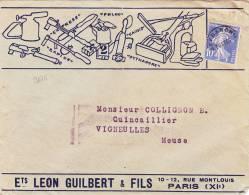 9675# PREO N° 66 SEMEUSE / LETTRE ILLUSTREE LEON GUILBERT EXPRESS RAPIDE KAUSIS PARIS Pour VIGNEULLES MEUSE - Marcophilie (Lettres)