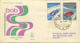 ITALIA - FDC VENETIA 1966 - CAMPIONATI MONDIALI DI BOB - SPORT - ANNULLO CORTINA - VIAGGIATA PER VENEZIA - 6. 1946-.. Repubblica