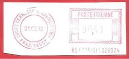 ITALIA REPUBBLICA - 2012 - LABEL - ATM - CERNUSCO SUL NAVIGLIO - 01/08/2012 - € 0,41 - Affrancature Meccaniche Rosse (EMA)