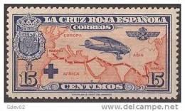 ES341-LA245TTA.España, Spain,  Espagne. Cruz Roja.AEREA1926 (Ed 341**) Sin Charnela.EXCELENTE - Aerei