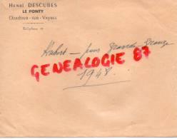 87 - ORADOUR SUR VAYRES - ENVELOPPE HENRI DESCUBES  LE PONTY 1948 - Non Classificati