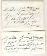 MARQUE POSTALE (Italie): BASSANO, 2 Lettres Avec Texte Pour Verona  En 1847, Cachet D´arrivée Au Verso. - Affrancature Meccaniche Rosse (EMA)