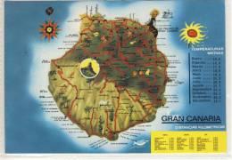 Map Card - GRAN CANARIA - Map Of Gran Canaria - Ca 1990 - Gran Canaria