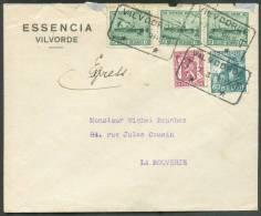 Diverses Valeurs Industruie/Ostende Douvres Obl. Télégraphique VILVOORDE T * T Sur Lettre Exprès Du 7-I-1949 Vers La Bou - 1948 Export