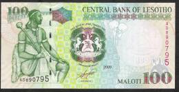 LESOTHO   P19b   100  MALOTI  2009 #AD  Signature 8   UNC. - Lesotho
