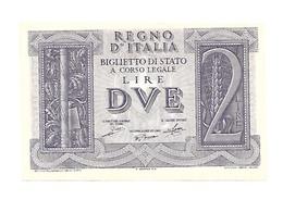 """1939  BANCONOTA   Lire 2   REGNO ITALIA  """"FASCIO E SPIGHE""""   Condizioni Ottime - [ 1] …-1946 : Koninkrijk"""