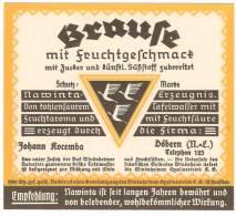 Etikett BRAUSE Johann Kocemba, Döbern N.L., Nawinta Erzeugnis, Windsheimer Quellvertrieb KG - Bier