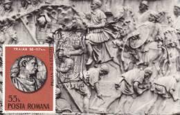 LA COLONNE DE TRAJAN.SCENE DU COMBAT DURANT LA 2 GUERRE ENTRE LES DACES ET LES ROMAINS 1975 CM,MAXICARD, ROMANIA. - 2. Weltkrieg