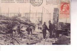 Belgiqu  BRUXELLES Exposition INCENDIE 1910 Fontaine Du Cracheur Pompier - Universal Exhibitions