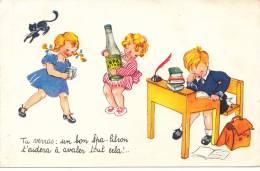 CARTE PUBLICITAIRE SPA CITRON - Enfant - Fillette - école - Publicité