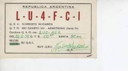 AMSTRONG  SANTA FE  AÑO 1975   REPUBLICA ARGENTINA CIRCULADA  Q. S. L.  OHL - Tarjetas QSL