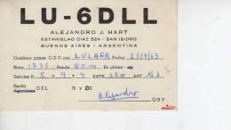 MARTINEZ  BUENOS AIRES  AÑO 1963  REPUBLICA ARGENTINA CIRCULADA  Q. S. L.  OHL - Tarjetas QSL