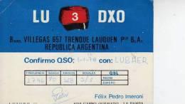 CARRO QUEMADO   LA PAMPA   AÑO 1978  REPUBLICA ARGENTINA CIRCULADA  Q. S. L.  OHL - QSL-Karten