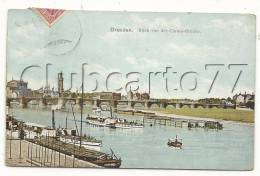 Dresde Ou Dresden  (Allemagne, Saxe) : Blick Von Der Carola-Brücke  En 1908 (lebendig). - Dresden