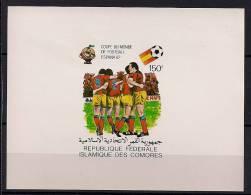 ISLAS COMORES, AÑO 1981, YVERT 336** HOJA BLOQUE SIN DENTAR, FÚTBOL, CAMPEONATOS MUNDIALES ESPAÑA 82 - Fußball-Weltmeisterschaft