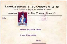 Landes Lettre Provenance Paris Etablissements Bokanowski - Poste