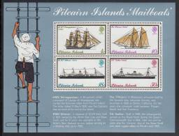 Pitcairn Islands MNH Scott #150a Souvenir Sheet Of 4 Mailboats: Seringapatam, Pitcairn, Athenic, Gothic - Timbres