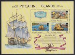 Pitcairn Islands MNH Scott #176a Souvenir Sheet Of 3 Plus Label Bounty Day: Building Model, Model Afloat, Burning Model - Timbres