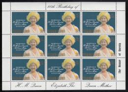 Pitcairn Islands MNH Scott #193 Sheet Of 9 50c Queen Mother In Yellow Hat - 80th Birthday - Timbres