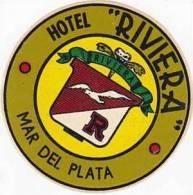 ARGENTINA MAR DEL PLATA HOTEL RIVIERA VINTAGE LUGGAGE LABEL - Hotel Labels