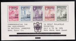 Philippines MNH Scott #C112 Souvenir Sheet Of 5 1st Scout Philatelic Exhibition, 25th Ann Of 1st National Scout Jubilee - Philippines