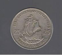 EAST CARIBBEAN  STATES -  25 Cents  1996  KM14 - Caribe Oriental (Estados Del)