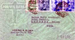 BUSTA POSTALEVIAGGIATA DA MADRID A LUCERNA-PER VIA AEREA-29-8-1940 - 1931-Aujourd'hui: II. République - ....Juan Carlos I