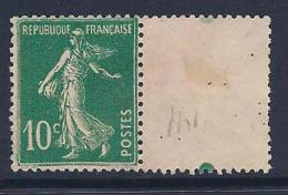 France, Scott # 163 Unused No Gum Sower, With Tab Showing The Top Of A Millesimes #, 1921 - Unused Stamps
