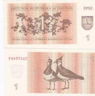 Lithuania 1Talonas 1992 Uncirculated - Lituanie