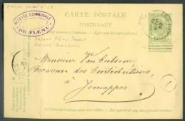 EP Carte 5 Centimes Vert (bandelette NE Pas Livrer Le DIMANCHE, Biffée) Obl. Sc FLENU-PRODUITS Du 20 Juin 1906 Vers Jema - Entiers Postaux