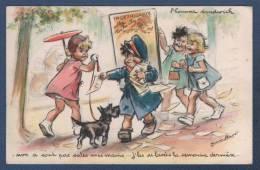 CP ILLUSTRATEUR GERMAINE BOURET - L´HOMME SANDWICH - NON A SONT PAS SALES MES MAINS... - ENFANTS CHIEN - E AEC PARIS - Bouret, Germaine