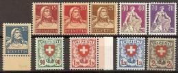 SUIZA 1924/27 - Yvert #201a/11a (papel Gaufré) - MNH ** (Rare!) - Neufs