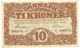 Denmark 10 Kronen 1943 XF - Dinamarca