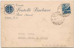 Iseo (Brescia) - Cartolina Pubblicitaria Trasporti Fratelli Barbieri - Viaggiata 1950 - Brescia