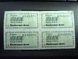 Automobile Ticket Rationnement Essence CRISE De SUEZ 1956 2éme Série  Bloc De Quatre Tickets Pour Dix Litres - Historische Dokumente