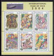 Philippines MNH Scott #2937c Souvenir Sheet Of 6 Winning Stamp Designs In Rice Is Life Contest - Int'l Year Of Rice - Philippines