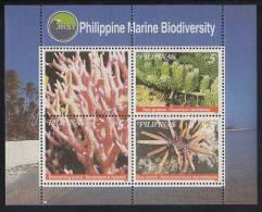 Philippines MNH Scott #2615 Souvenir Sheet Of 3 Plus Label 5p Sea Grapes, Branching Coral, Sea Urchin - Marine Life - Philippines