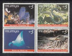 Philippines MNH Scott #2614 Block Of 4 5p Sea Squirt, Banded Sea Snake, Manta Ray, Painted Rock Lobster - Marine Life - Philippines