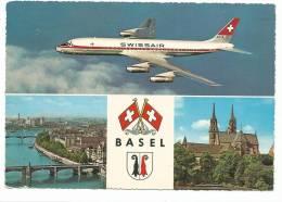 DC -8  Vol SWISSAIR , Multivues De Basel + BLASON , CPSM écrite En 1964 - 1946-....: Moderne