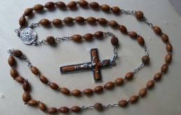 CHA-398 Chapelet Anagramme GD Gravé Sur Médaille, Grains En Bois Blond Sur Ag - Religión & Esoterismo