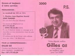 TAMINES-SAMBREVILLE-GILLES GIL-DEPUTE SOCIALISTE WALLON-CALENDRIER 2000-politique - Calendari