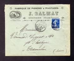 Enveloppe Commerciale J. BALMAT à SCIONZIER (Haute-Savoie) Vers Suisse TRAMELAN 24/12/1909 Lettre Imprimée - Réf A61 - 1877-1920: Semi Modern Period