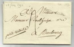 1790 - RARE - LETTRE De WISSEMBOURG Pour STRASBOURG - 35x4 Mm - INDICE 22 (= 500 EUR) - 1701-1800: Precursors XVIII