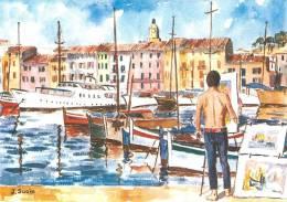 SAINT TROPEZ  SUR LE QUAI DU PORT  AQUARELLE J.SUAIN   SCANS RECTO VERSO - Saint-Tropez