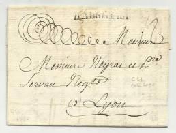 1778 - RARE - LETTRE De HABSHEIM (HAUT RHIN) Pour LYON - 37x5 Mm - INDICE 22 (= 500 EUR) - 1701-1800: Precursors XVIII