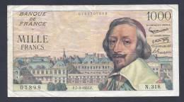 RARE 1000 Francs RICHELIEU FRANCE 7/3/1957 F 42.25 - 1 000 F 1953-1957 ''Richelieu''