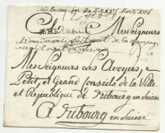 1776 - DEVANT De LETTRE De NEUF BRISACH (HAUT RHIN) Pour FRIBOURG (SUISSE) - 39x4 Mm - INDICE 17 (= 200 EUR) - 1701-1800: Precursors XVIII